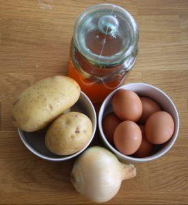 Ingredientes para hacer tortilla de patatas jugosa