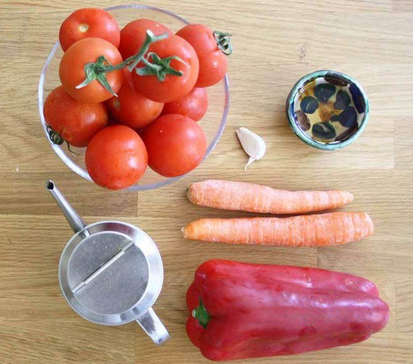 ingredientes para hacer gazpacho