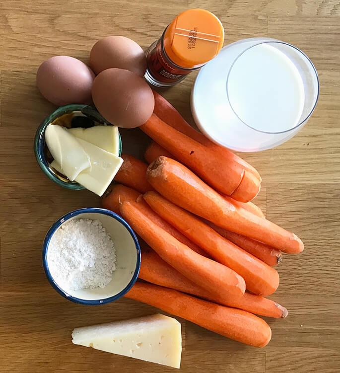 Ingredientes suflé de zanahorias y queso