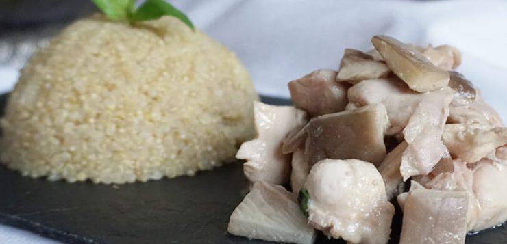 Pollo con setas, quinoa y albahaca RIQUÍSIMO