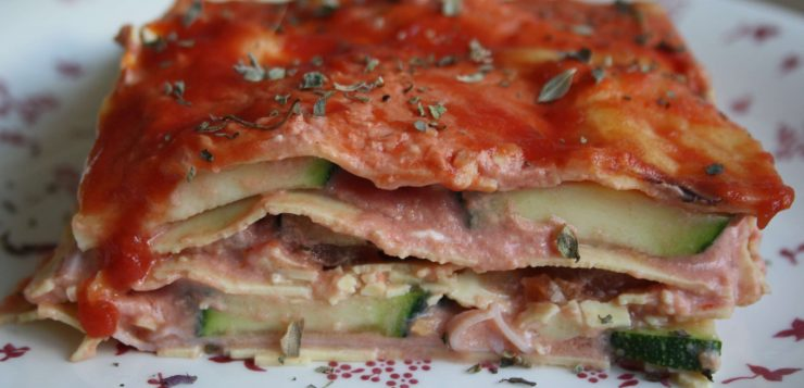 Lasaña de verduras baja en calorías