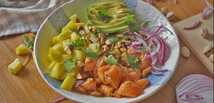 ceviche de salmon y mango